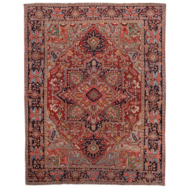 Early 20th Century Antique Persian Heriz Wool Rug For Sale - Image 13 of 13