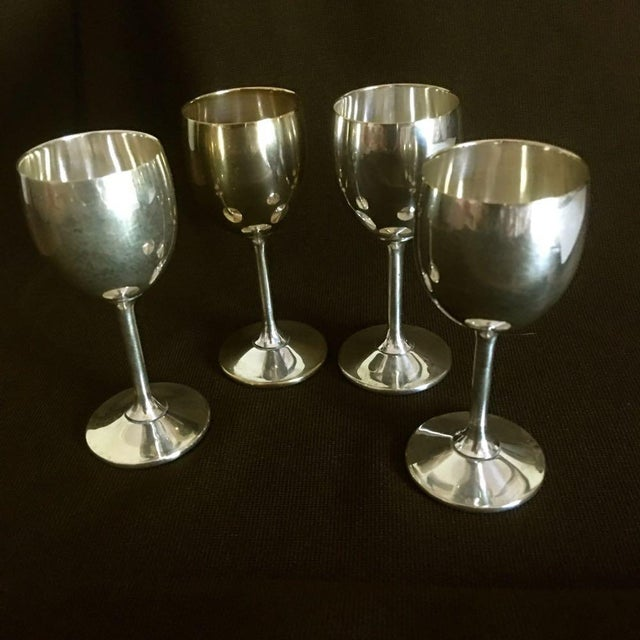 Metal Vintage Spanish Silver Plated Stemware Candlesticks - 26 Pieces For Sale - Image 7 of 9