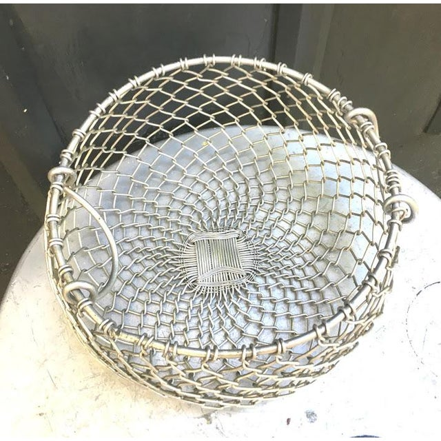 Mid-Century Modern Silver Chain Hanging Plant Basket For Sale - Image 3 of 6