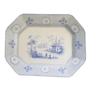 Large 19th Century English Stafforshire Blue and White Platter For Sale