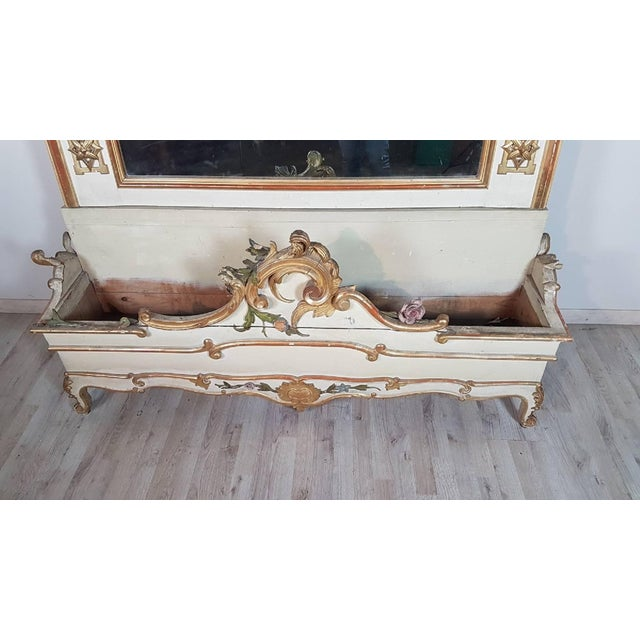 Gold 19th Century Italian Baroque Style Carved Lacquered Golden Wood Floor Mirror For Sale - Image 8 of 12