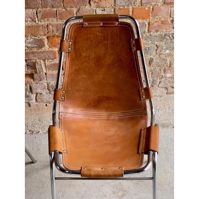 1970s Les Arcs Leather Tan Dining Chairs, 1970s - Set of 4 For Sale - Image 5 of 11