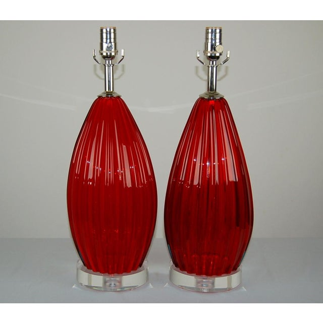Vintage SCARLET RED Murano glass table lamps, a matched pair. The thick vertical ribs add a beautiful dimension, and when...