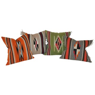 Collection of Four Mexican/ American Indian Weaving Serape Pillows For Sale
