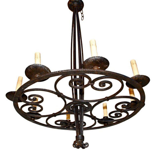 Art Deco French Art Deco Wrought Iron Chandelier For Sale - Image 3 of 3