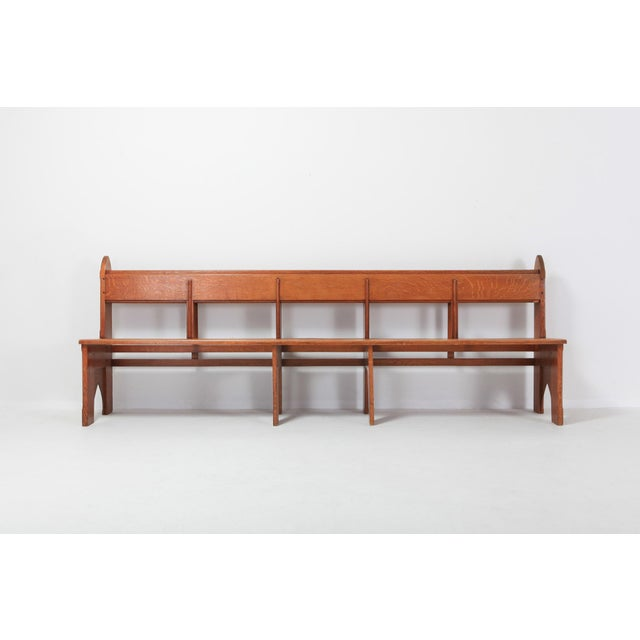 Natural oak bench. In the manner of the Amsterdam school Art Deco style. Really sculptural bench that fits well in a wabi...