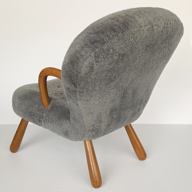 Animal Skin Philip Arctander for Paustian Gray Sheepskin Upholstered Lounge Chairs - a Pair For Sale - Image 7 of 13