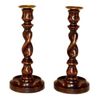 Pair of 19th C English Oak Candlesticks For Sale