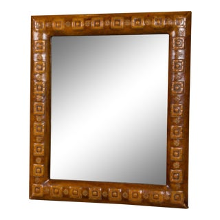 1970s Leather Framed Mirror For Sale