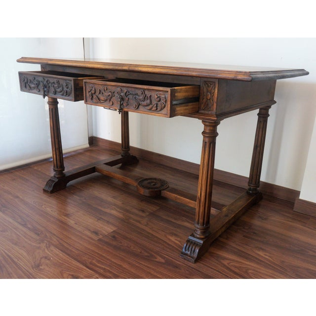 19th Spanish Refectory Table with Two Drawers, Desk Table - Image 5 of 9
