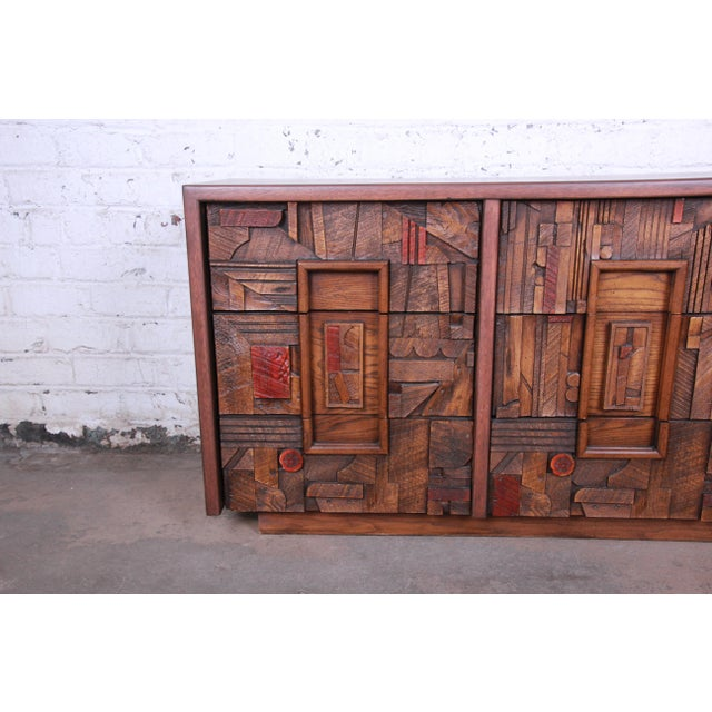 Lane Pueblo Brutalist Mid-Century Modern Oak Long Dresser or Credenza, 1970s For Sale - Image 10 of 13