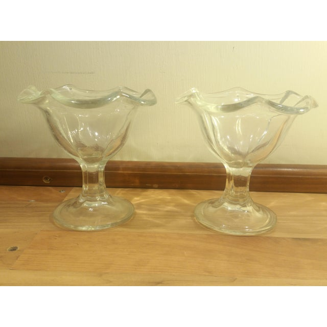 Country Kig Indonesia Glass Flower Shaped Footed Dessert Dishes - A Pair For Sale - Image 3 of 5