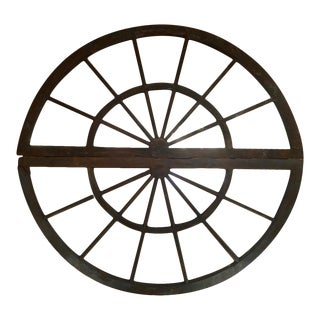 Huge Antique Double Arched Windows Now a Round Mirror For Sale