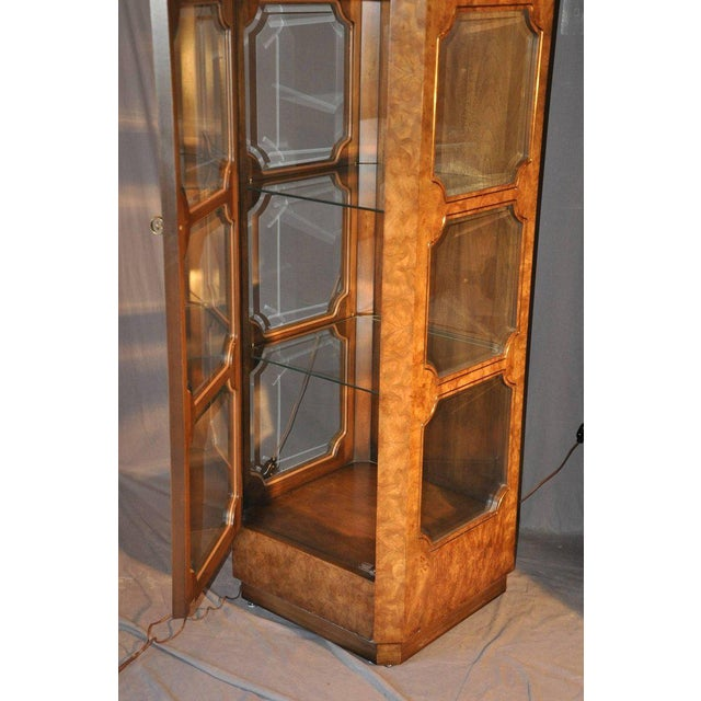 Baker Furniture Company Mastercraft Burl Wood Curio Cabinets - a Pair For Sale - Image 4 of 7