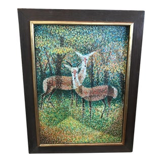 20th Century Abstract Pointillist Painting of Deer