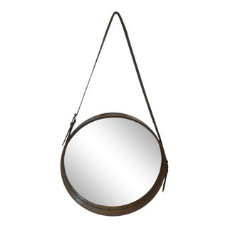 Rustic Jamie Young Brown Leather Round Wall Mirror - Small