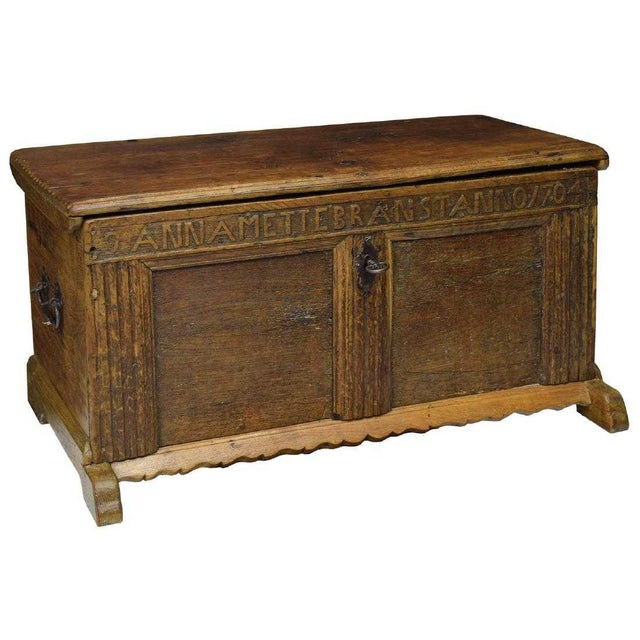 1704 Swedish Carved Oak Flat Top Coffer For Sale - Image 4 of 4