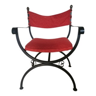 Vintage Mid-Century Red Velvet Campaign Style Chair For Sale