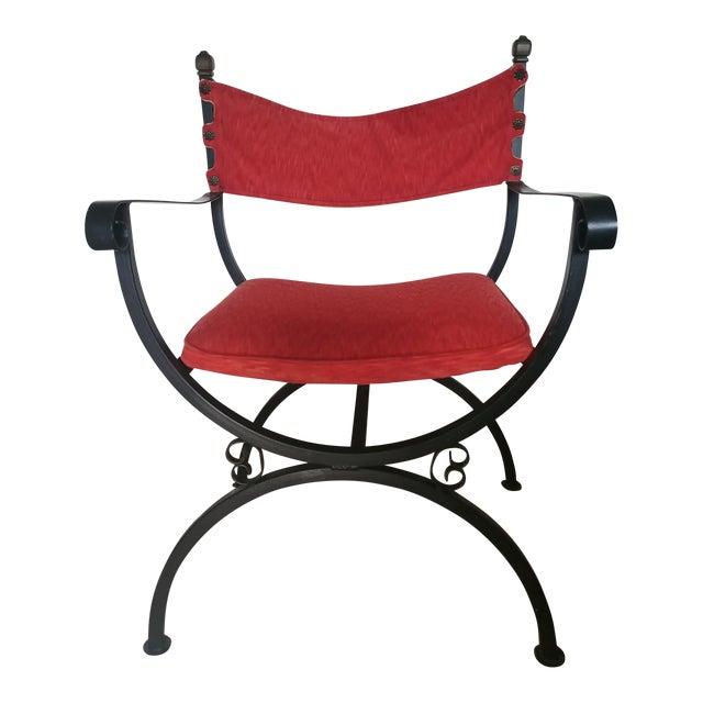 Sensational Vintage Mid Century Red Velvet Campaign Style Chair Theyellowbook Wood Chair Design Ideas Theyellowbookinfo