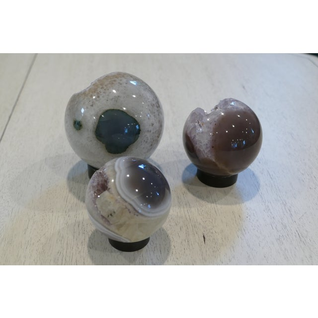 Contemporary Decorative Amethyst Spheres - Set of 3 For Sale - Image 3 of 10