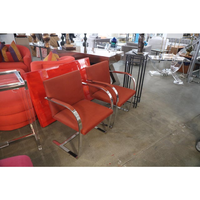 Red Knoll Mies Van Der Rohe Brno Chairs Flat Bar Dated 1980 - a Pair For Sale - Image 8 of 10