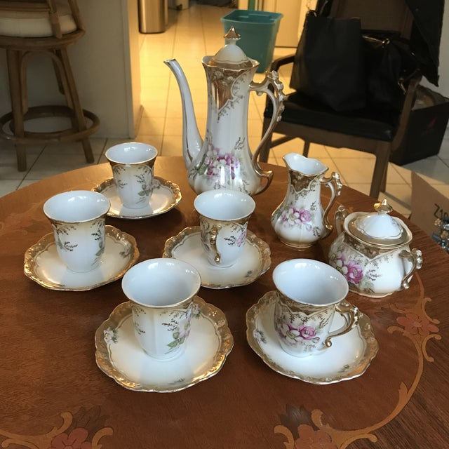 Stunning, 1960s Hand Painted Prussia Floral Chocolate Set, Reduced For Sale - Image 12 of 13