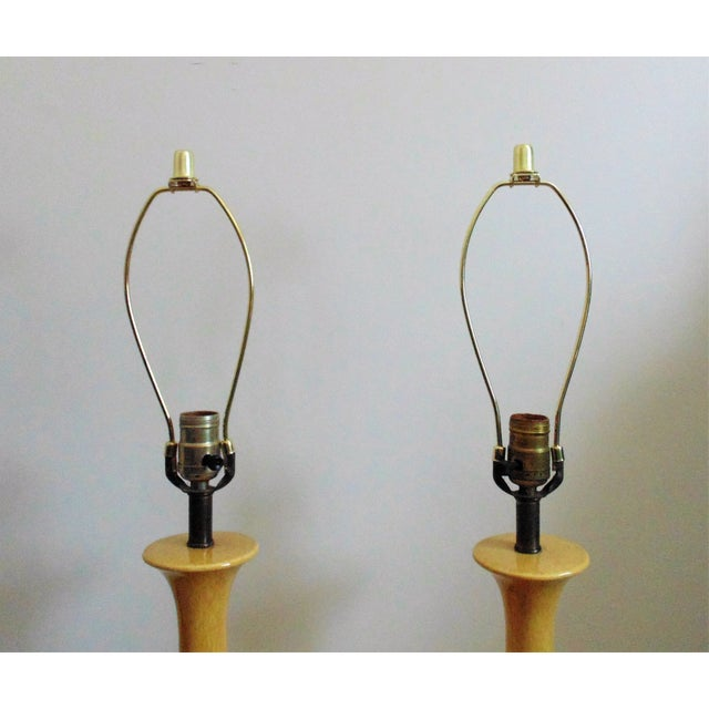 Mid-Century Modern Mid-Century Moderns Mustard Yellow Glaze Table Lamps - a Pair For Sale - Image 3 of 6