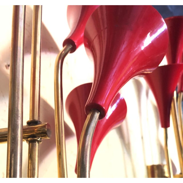Red Enameled Trumpets Sconces by Fabio Ltd - a Pair For Sale - Image 9 of 10