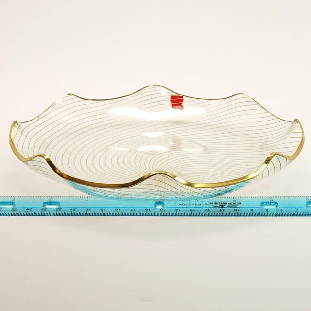 1960s 1960s Op Art Mf Crystal Denmark Gold Filagree Spiral Bent Glass Platter For Sale - Image 5 of 8