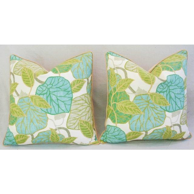 Custom Tailored Atrium Foliage Feather/Down Linen & Velvet Pillows - Pair For Sale - Image 9 of 11
