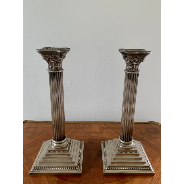 Godinger Early 20th Century Silver Corinthian Column Candlesticks - a Pair For Sale - Image 4 of 6