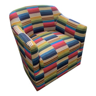 St. Frank Fabric Swivel Club Chair For Sale