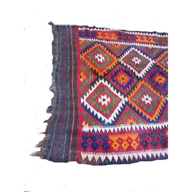 Modern Vintage Handwoven Caucasian Kilim Rug - 5′ × 16'′ For Sale - Image 3 of 5