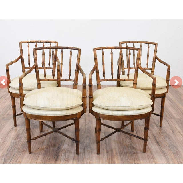 Drexel Faux Bamboo Chinoiserie Chippendale-Style Armchairs - Image 2 of 6