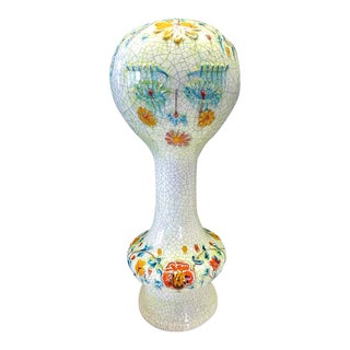 Mid-Century Modern Vintage Italian Art Pottery Mannequin Head Wig Stand Italy For Sale