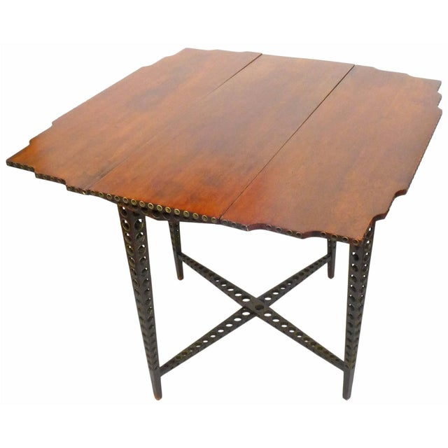 Early 20th Century Drop-Leaf Wood and Brass-Grommet Table For Sale - Image 4 of 7