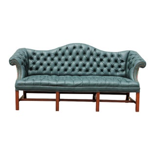Genuine Italian Leather, Green Camelback Tufted Sofa For Sale