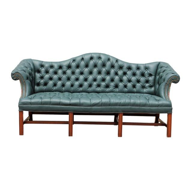 Genuine Italian Leather, Green Camelback Tufted Sofa