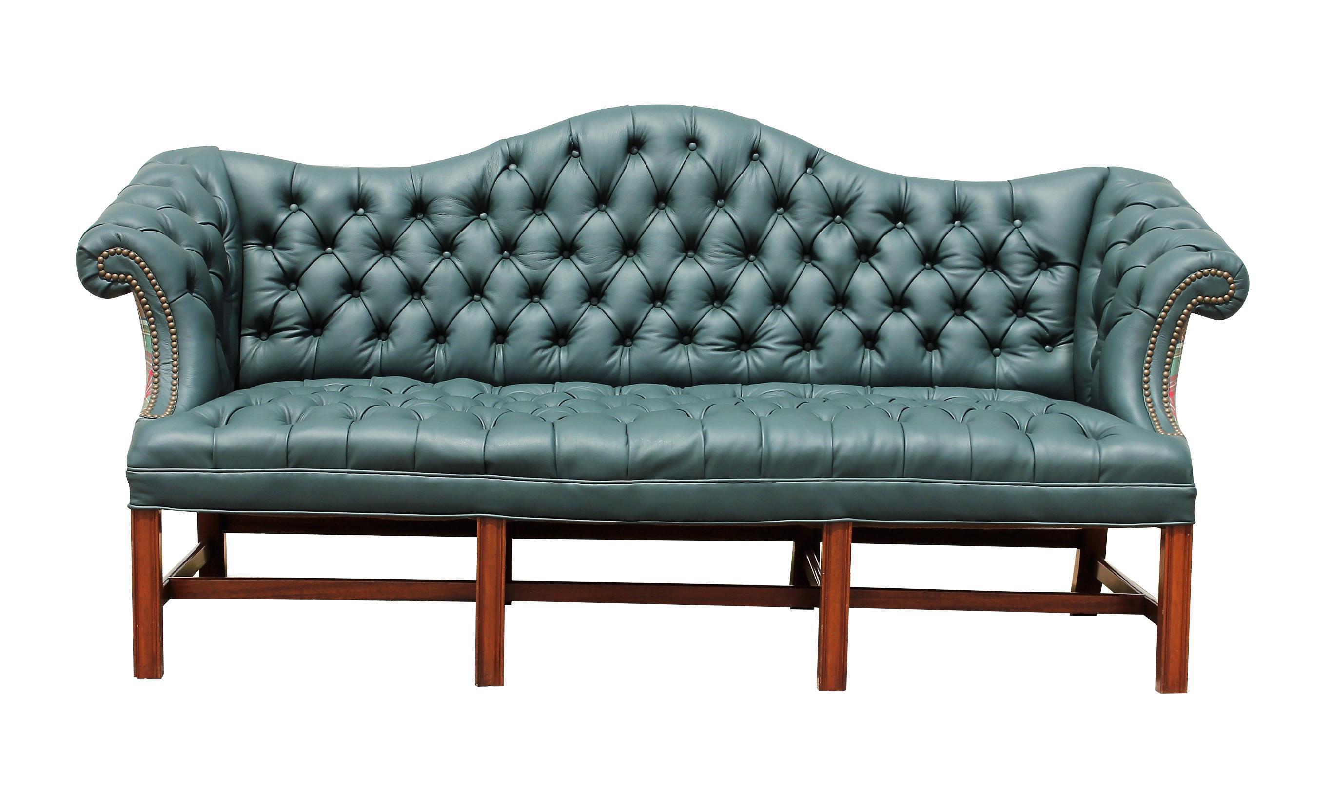 Genuine Italian Leather, Green Camelback Tufted Sofa For Sale
