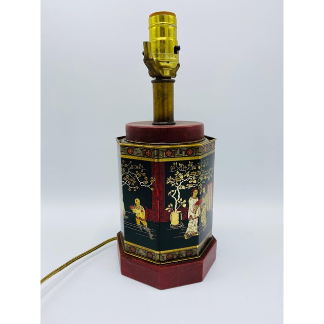 1950s Chinoiserie Red and Black Tole Tea Canister Lamp With Leather Details For Sale - Image 12 of 13