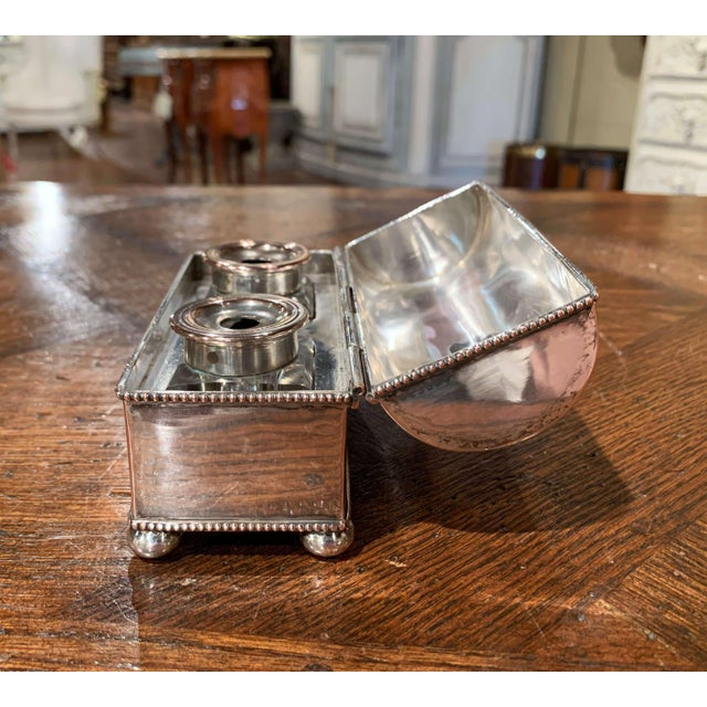 Metal 19th Century French Silver Plated Over Copper Casket Inkwell For Sale - Image 7 of 12