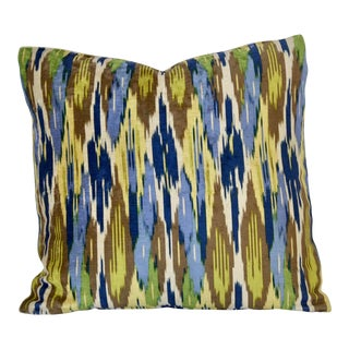Blue and Yellow Silky Large Scale Pillow For Sale