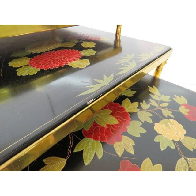 Asian Custom Brass Bamboo Form Chinoiserie Nesting Tables For Sale - Image 3 of 6