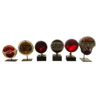 Antique Hot Road Break Lights Collection of Six 1930s-1940s, Custom Mounted For Sale