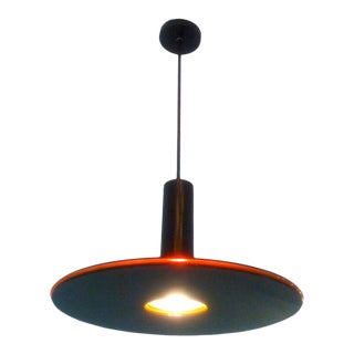 1980s Art-Tech Black and Red Saucer Ceiling Light For Sale
