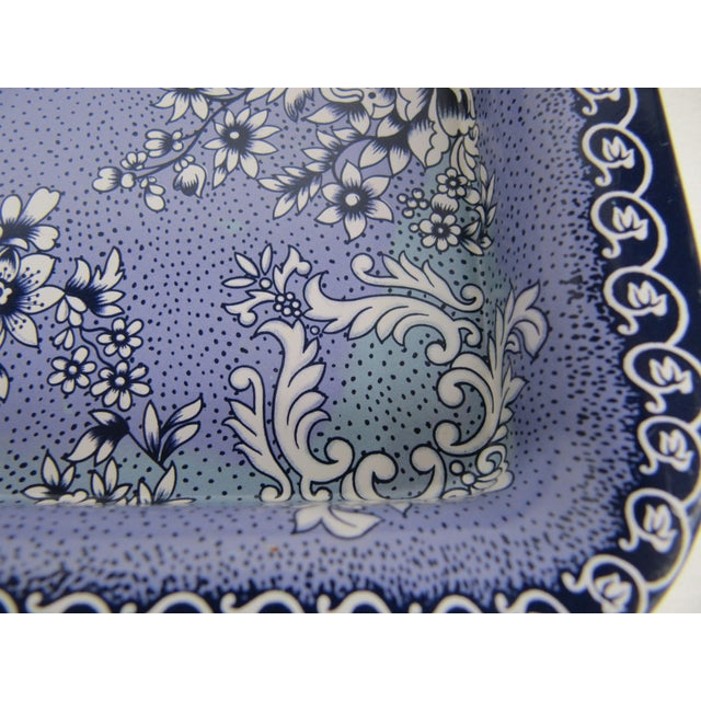 English Traditional Metal Blue & White Transferware Tray & Serving Bowl For Sale - Image 3 of 5
