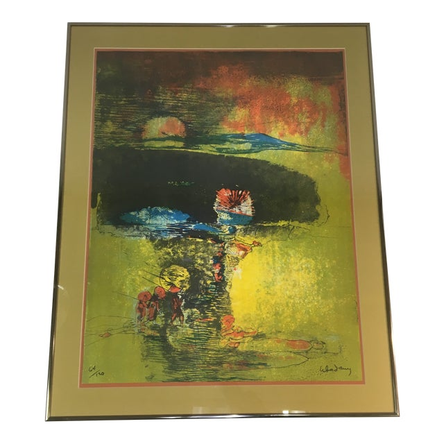 "Late 20th Century ""Fishermen and Junk Boat"" Signed Lithograph by Lebadang, Framed For Sale"