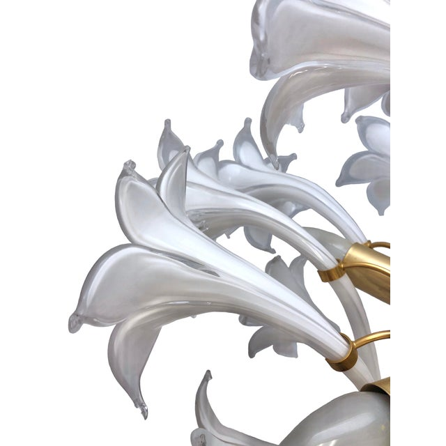 White Brass and White Murano Lily Chandelier For Sale - Image 8 of 12