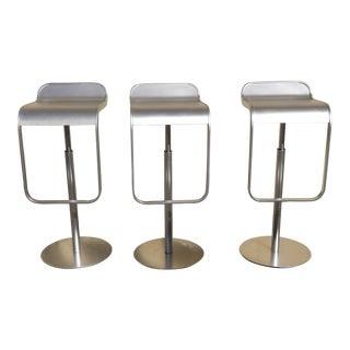 Adjustable Height & Swivel La Palma Italian Metal Modern Bar Stools - Set of 3 For Sale
