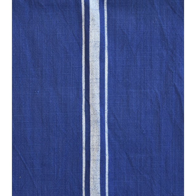 "Farmhouse Royal Blue & White Striped Table Runner 110"" Long For Sale In Los Angeles - Image 6 of 8"